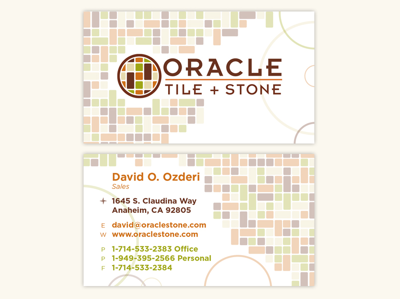 Business cards seven thirteen creative inc oracle tile stonetiles masonry stone earth colors brown tan green clay terra cotta business card oracle colourmoves